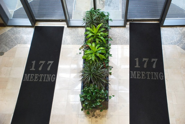 Lobby Entry with living plant divider